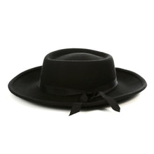 Load image into Gallery viewer, Black Wide Brim Fedora Hat - Ferrecci USA