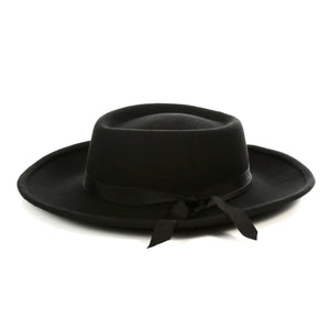 Black Wide Brim Fedora Hat - Ferrecci USA