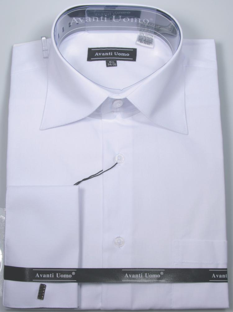 Men's French Cuff Dress Shirt Spread Collar- Color White