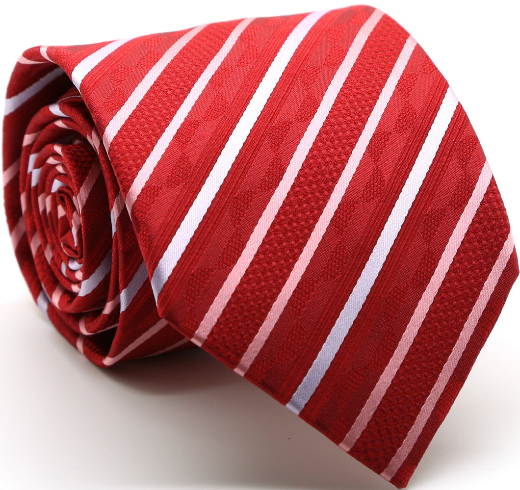 Mens Dads Classic Red Striped Pattern Business Casual Necktie & Hanky Set X-7 - Ferrecci USA