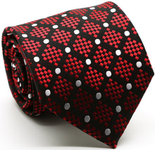 Load image into Gallery viewer, Mens Dads Classic Red Circle Pattern Business Casual Necktie & Hanky Set XO-2 - Ferrecci USA