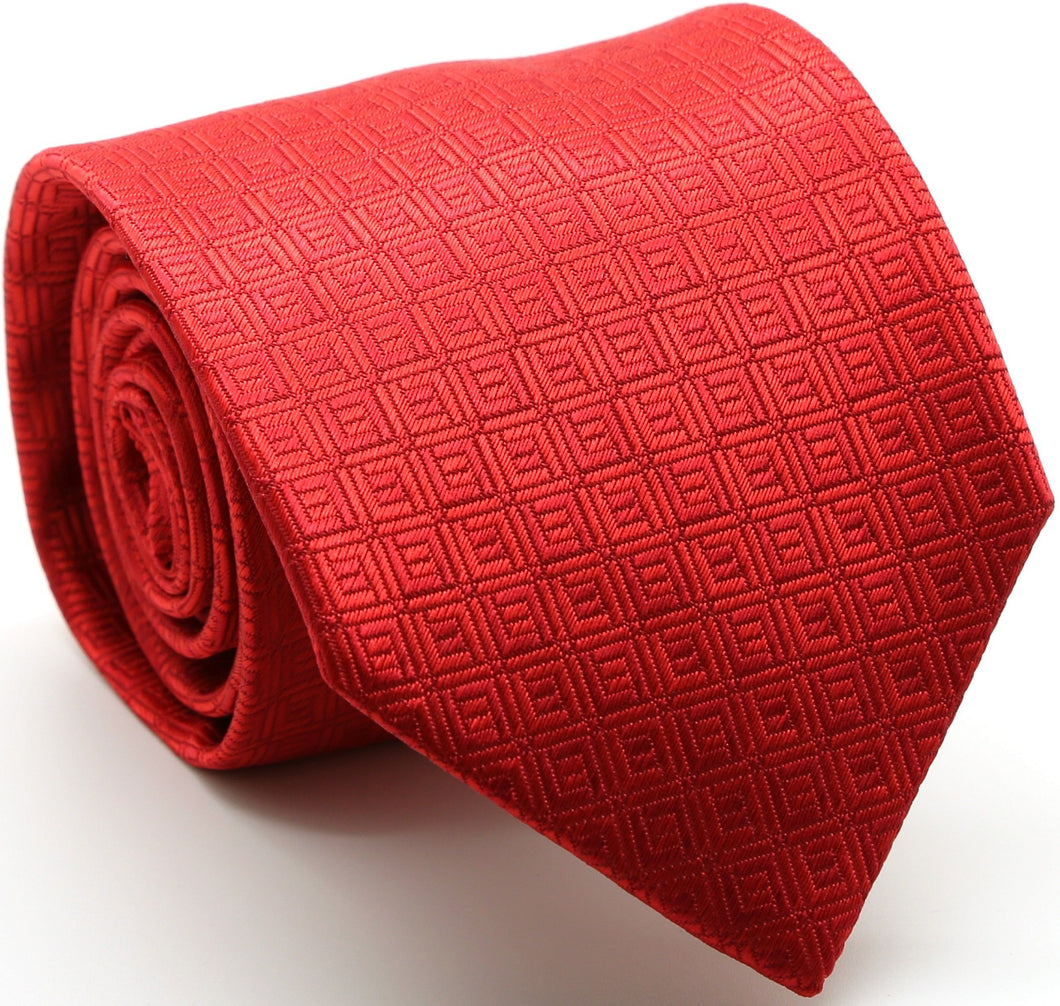 Mens Dads Classic Red Geometric Pattern Business Casual Necktie & Hanky Set Y-11 - Ferrecci USA