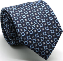 Load image into Gallery viewer, Mens Dads Classic Navy Geometric Pattern Business Casual Necktie & Hanky Set Y-12 - Ferrecci USA