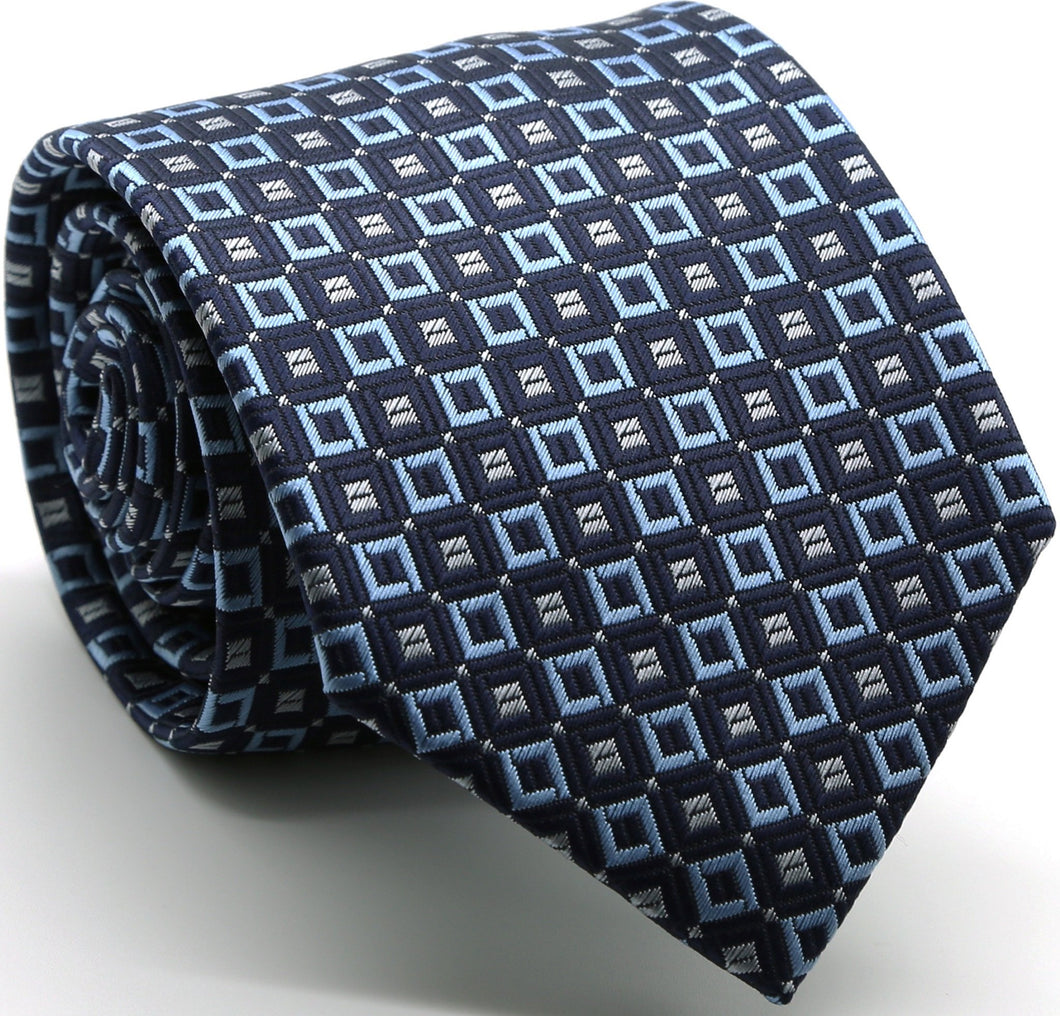 Mens Dads Classic Navy Geometric Pattern Business Casual Necktie & Hanky Set Y-12 - Ferrecci USA