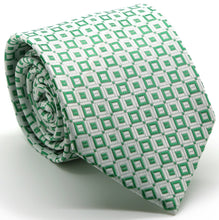 Load image into Gallery viewer, Mens Dads Classic Green Geometric Pattern Business Casual Necktie & Hanky Set Y-6 - Ferrecci USA