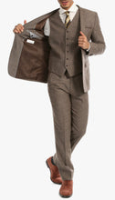 Load image into Gallery viewer, York Brown 3 Piece Herringbone Suit - Ferrecci USA