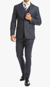 York Navy Slim Fit 3 Piece Herringbone Suit - Ferrecci USA