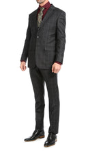 Load image into Gallery viewer, Yves Black Plaid Check Men's Premium 2 Piece Wool Slim Fit Suit - Ferrecci USA