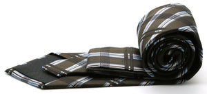Mens Dads Classic Brown Stripe Pattern Business Casual Necktie & Hanky Set Z-2 - Ferrecci USA