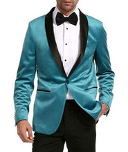Load image into Gallery viewer, Enzo Turquoises Velvet Slim Fit Shawl Lapel Tuxedo Men's Blazer - Ferrecci USA