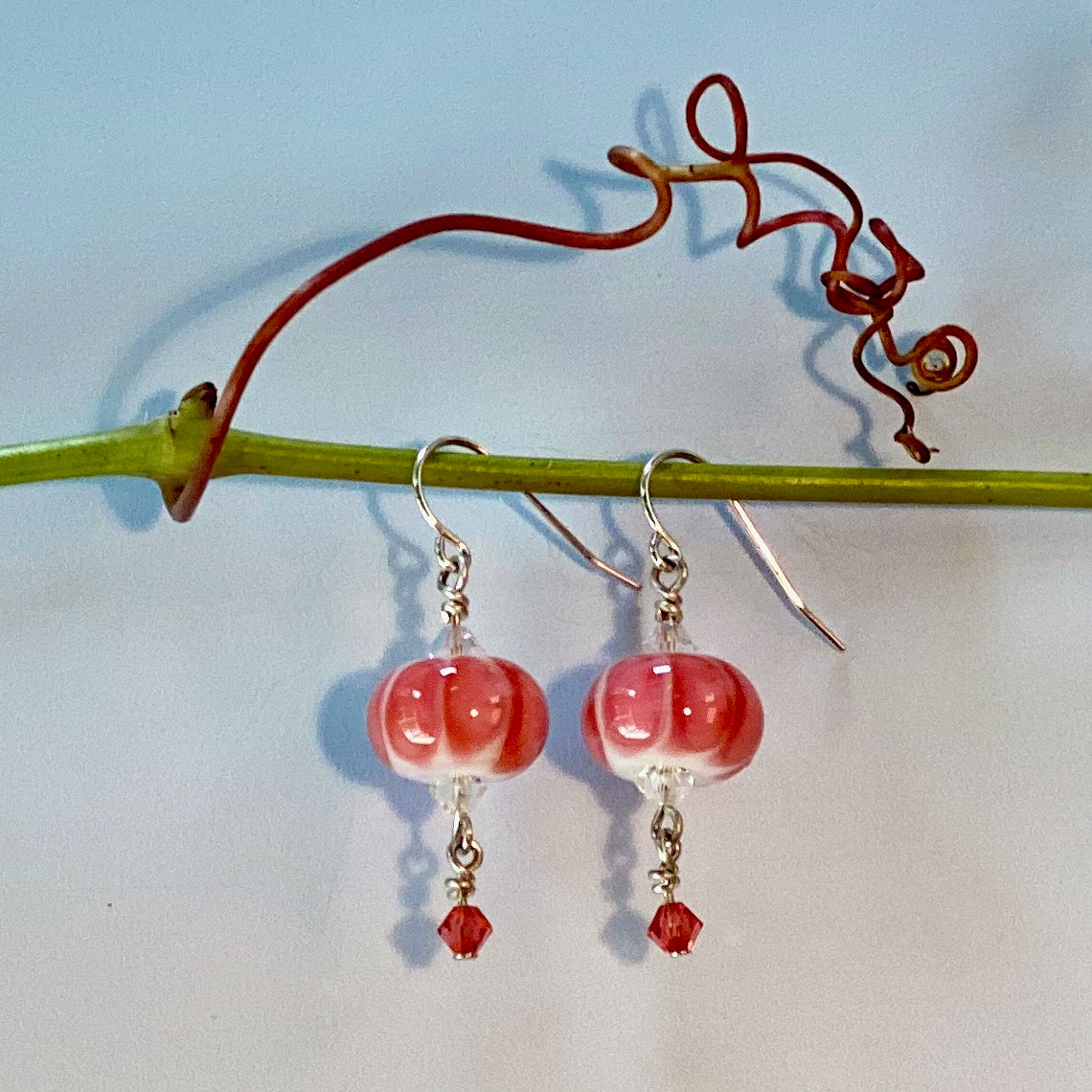 coral melon, bead over crystal style