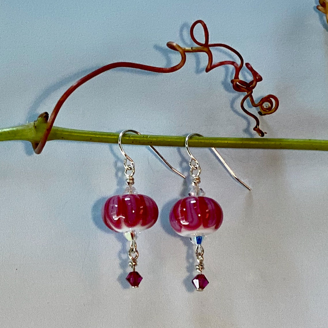 cranberry neo melon, bead over crystal style