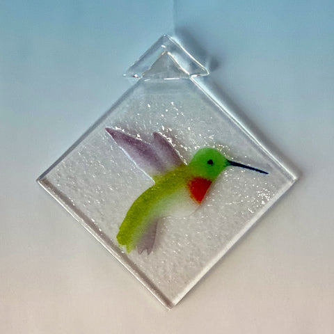 hummingbird, ruby throated, green