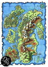 Load image into Gallery viewer, Everburn Islands Printed Map Prop Maps 36x26 Color without text Deven Rue