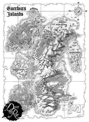 Everburn Islands Printed Map Prop Maps with text Deven Rue
