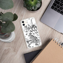 Load image into Gallery viewer, A portion of a black and white map design by Deven Rue on the back of an iPhone 11 case. Succulents and office supplies are in the background.