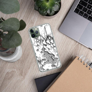 A portion of a black and white map design by Deven Rue on the back of an iPhone 11 Pro case. Succulents and office supplies are in the background.
