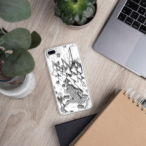 A portion of a black and white map design by Deven Rue on the back of an iPhone 7 plus or 8 plus case. Succulents and office supplies are in the background.