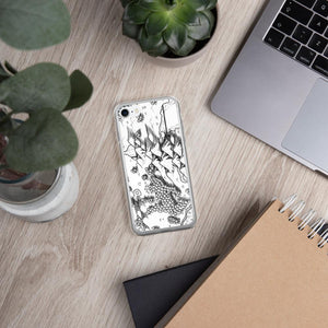 A portion of a black and white map design by Deven Rue on the back of an iPhone SE case. Succulents and office supplies are in the background.