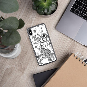 A portion of a black and white map design by Deven Rue on the back of an iPhone XS Max case. Succulents and office supplies are in the background.