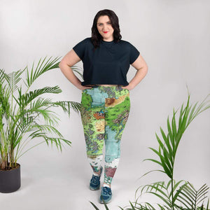 Queen's Treasure Map Plus Size Leggings 2XL Deven Rue
