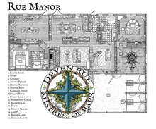 Load image into Gallery viewer, Rue Manor Printed Map Prop Maps with text Deven Rue