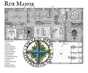 Rue Manor Printed Map Prop Maps with text Deven Rue