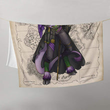 Load image into Gallery viewer, Rue the Cartographer throw blanket by Deven Rue, folded in half.