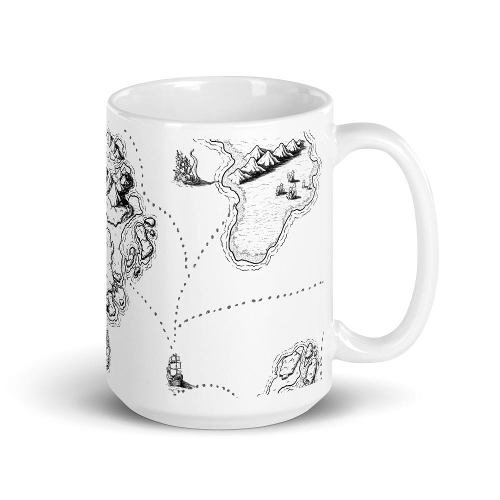 Sailing Into the Unknown Map Mug Mug Deven Rue