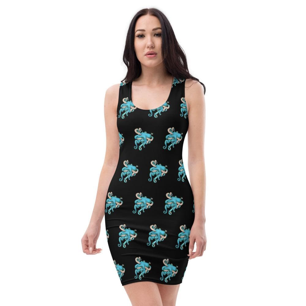 Tangled Octopus Fitted Dress XS Deven Rue
