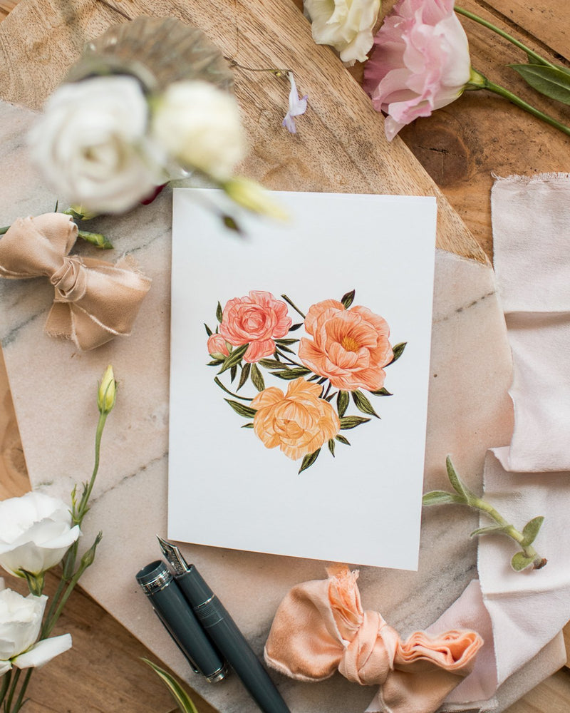 Pivoines en Coeur - Joannie Houle - Greeting Cards - STUDIO FOLIAGE