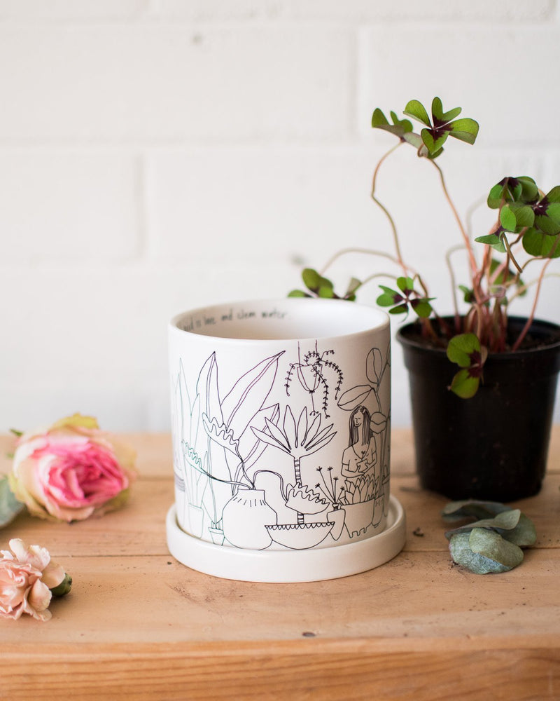 Plant Lady - Planter & Saucer - Vessels - STUDIO FOLIAGE