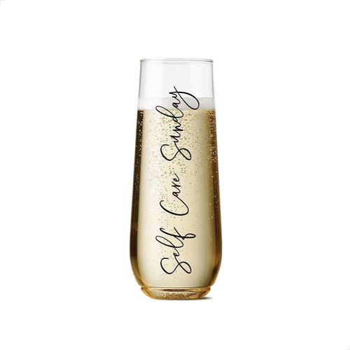 Self Care Sunday Plastic Champagne Flutes, set of 2+, 9 oz. - Body Love Self Care Shop