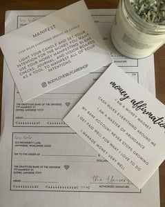 MANIFEST (Cash Rules Everything Around Me) Money Manifestation Candle, Law of Attraction, Abundance Checks, Affirmations, Single Candle - Body Love Self Care Shop