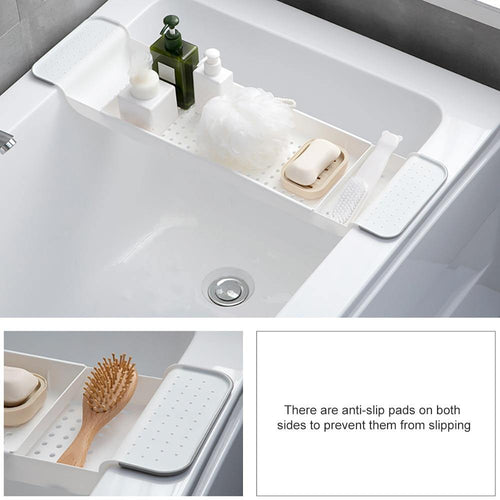 Retractable Plastic Shelf Bathtub Rack Bathtub Tray Bathroom Organizer - Body Love Self Care Shop