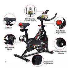 Load image into Gallery viewer, Indoor Exercise Bike - Stationary Cycling Bike with LCD Display & iPad/iPhone Mount