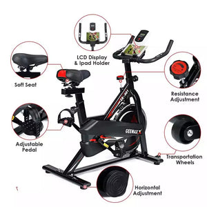 Indoor Exercise Bike - Stationary Cycling Bike with LCD Display & iPad/iPhone Mount