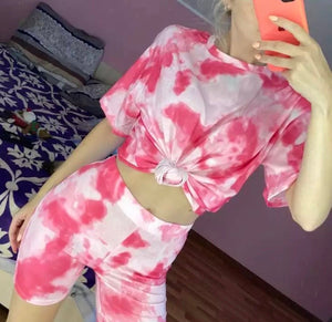 2 Piece Tropical Tie Dye Short Sleeve Top and Shorts Set