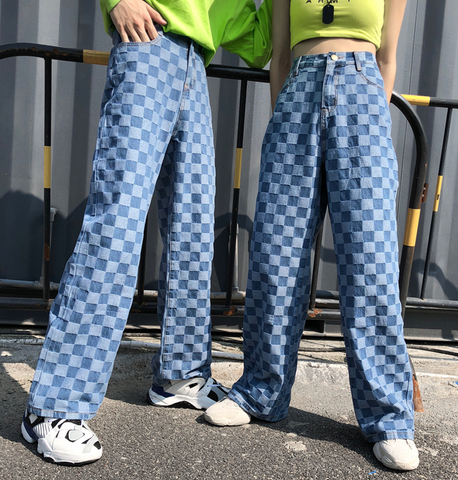 Oversized Checkered Denim Trousers