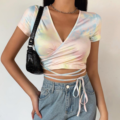 Iridescent Strap Crop