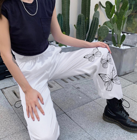 White Illustrated Butterfly Pants