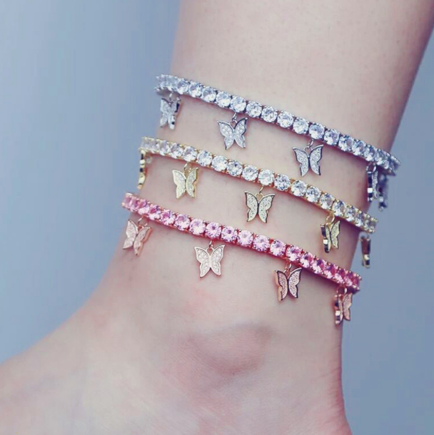 Butterfly Diamante Ankle Charm