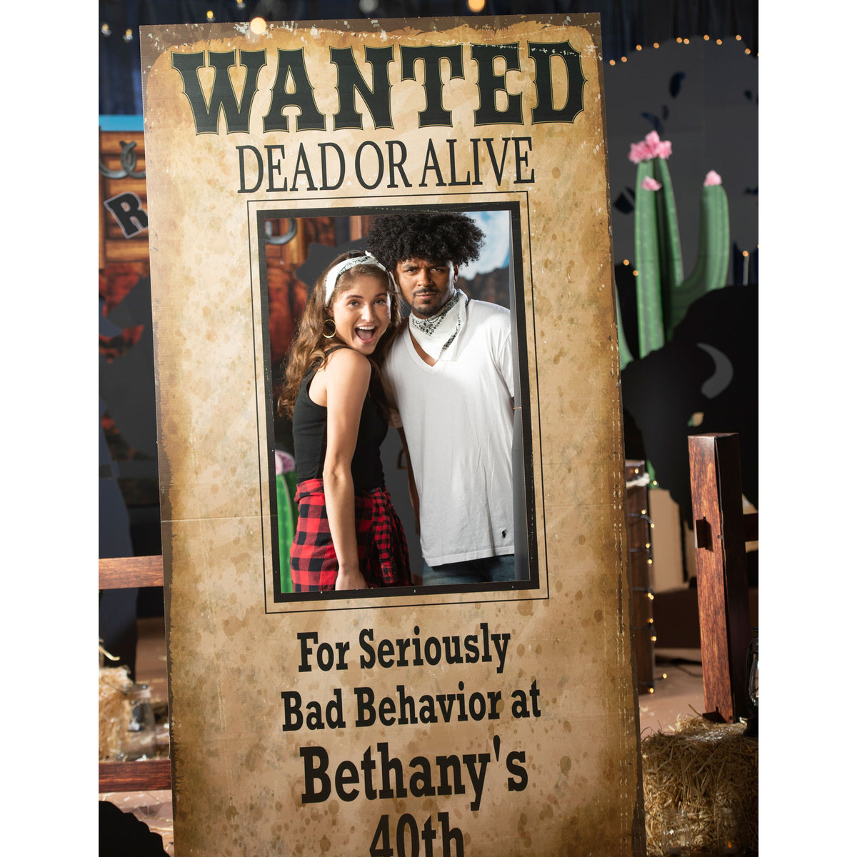 7 ft. 6 in. Personalized Wanted Sign Photo Stand In