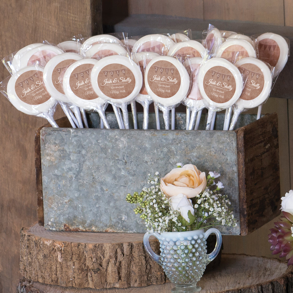 Tropical Chic Personalized White Swirl Lollipops
