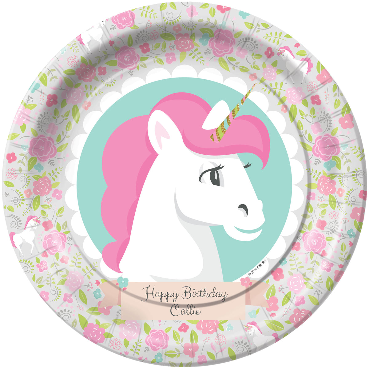 Unicorn Personalized Dinner Plates