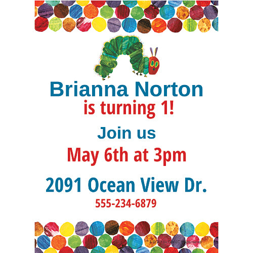 Very Hungry Caterpillar Personalized Invitations