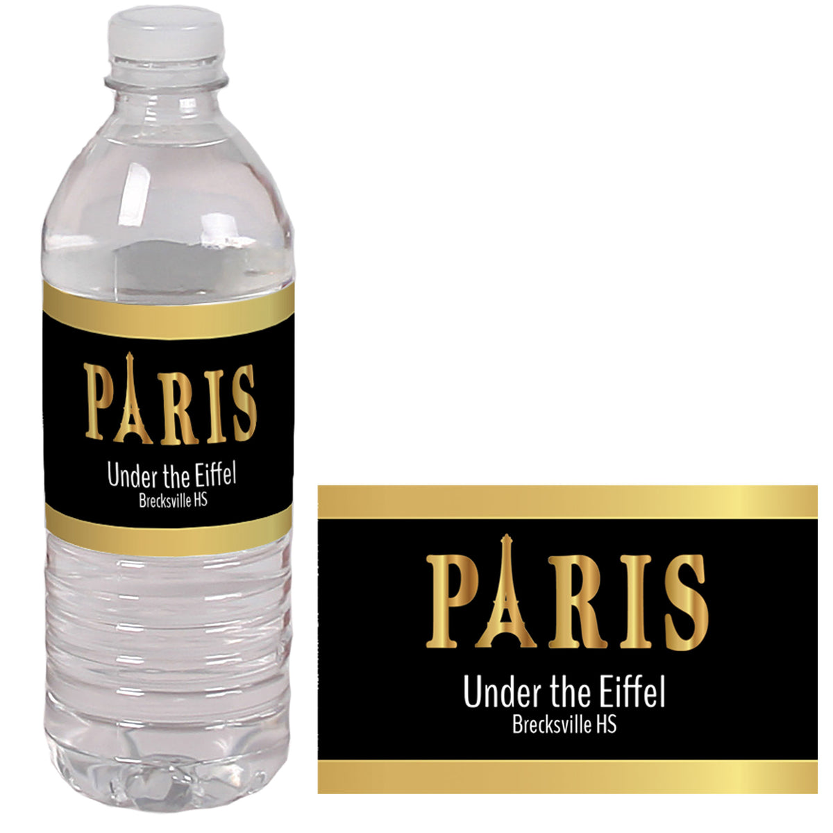 Under the Eiffel Personalized Water Bottle Labels