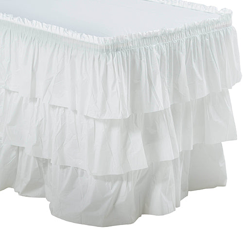 White 3 Tier Ruffled Table Skirt