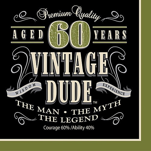 Vintage Dude 60th Luncheon Napkins