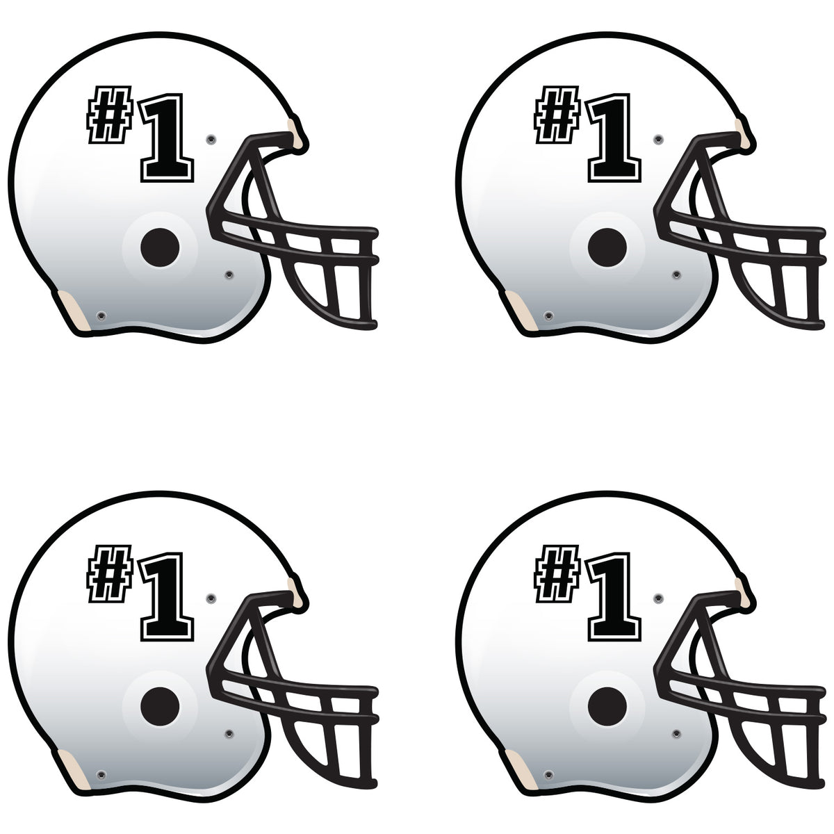 White Football Helmet Waterless Tattoos